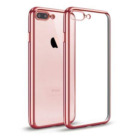 iPhone 7 Plus silikonowe etui platynowane SLIM - różowy.