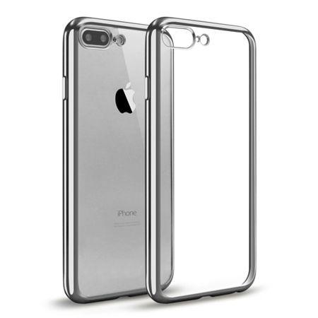 iPhone 7 Plus silikonowe etui platynowane SLIM - srebrny.
