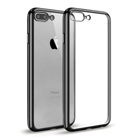 iPhone 7 Plus silikonowe etui platynowane SLIM - czarny.