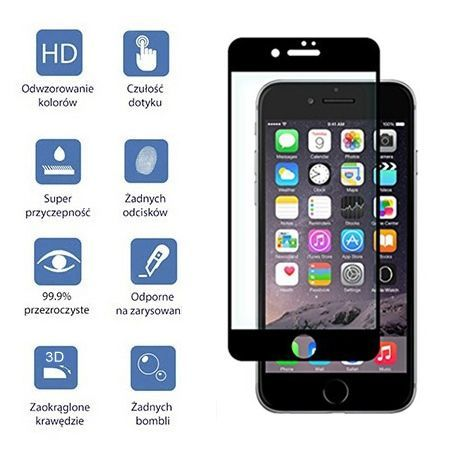 Hartowane szkło na cały ekran 3d iPhone 6 / 6s - złoty.