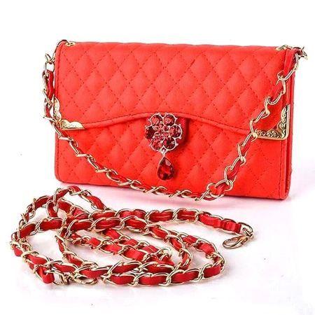 Etui na iPhone 6 / 6s - elegancka torebka z łańcuszkiem - czerwona.