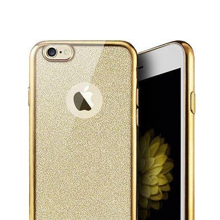 iPhone 5 / 5s etui brokat silikonowe platynowane SLIM tpu - złoty.