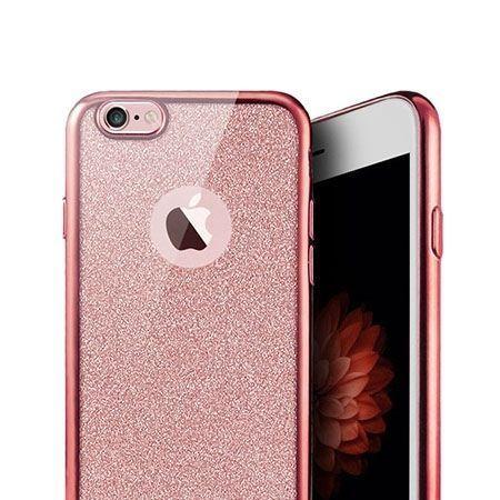 iPhone SE etui brokat silikonowe platynowane SLIM tpu - różowy.