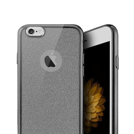 iPhone 6 / 6s etui brokat silikonowe platynowane SLIM tpu - grafitowy.