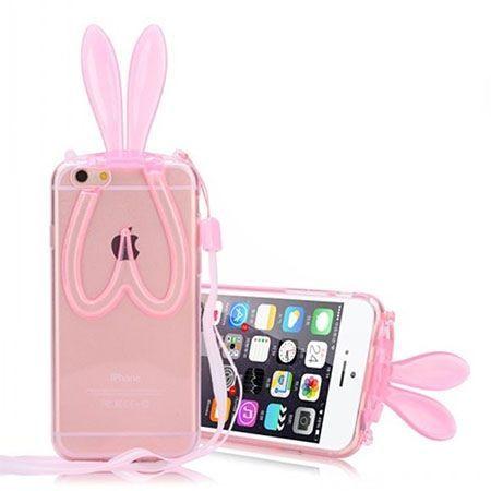 Etui na iPhone SE królicze uszy silikonowe - różowe.