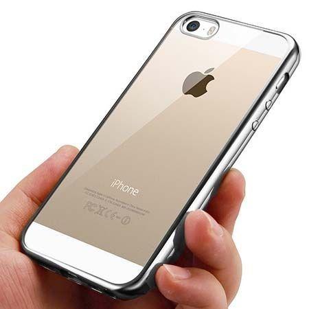 iPhone 5 i 5s silikonowe etui platynowane SLIM - srebrny.