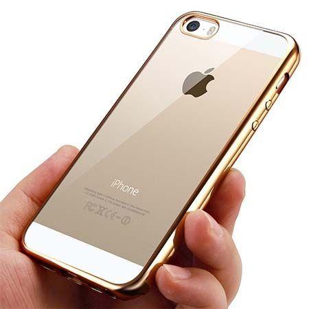 Silikonowe etui na iPhone SE platynowane SLIM - złoty.