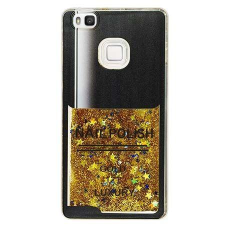 Etui na Huawei P9 Lite z ruchomym płynem w środku Nails - złoty. PROMOCJA !!!