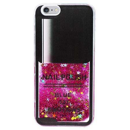 Etui na iPhone 5 , 5S z ruchomym płynem w środku Nails - różowy.
