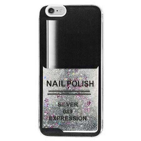 Etui na iPhone 5 , 5S z ruchomym płynem w środku Nails - srebrny.