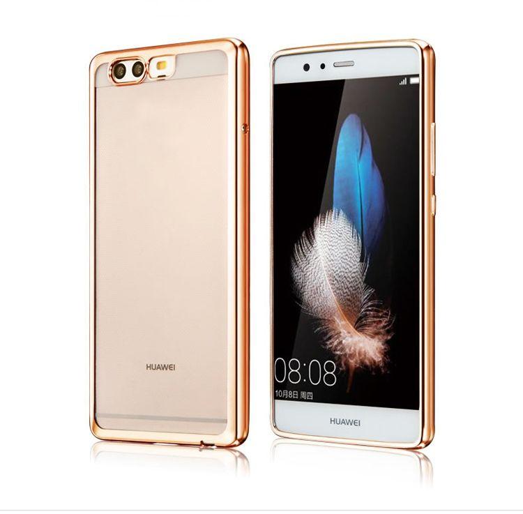 Platynowane etui na Huawei P10 silikonowe SLIM tpu - złote.