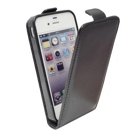 Etui na telefon iPhone 4 / 4s - kabura z klapką - czarny