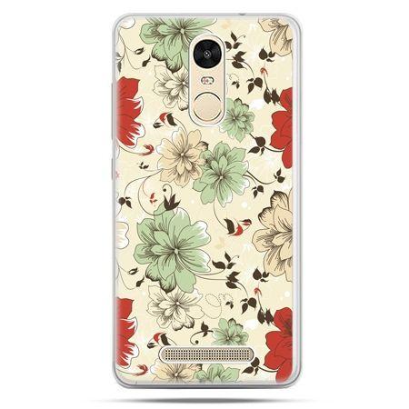 Etui na Xiaomi Redmi Note 3 - zielone kwiaty