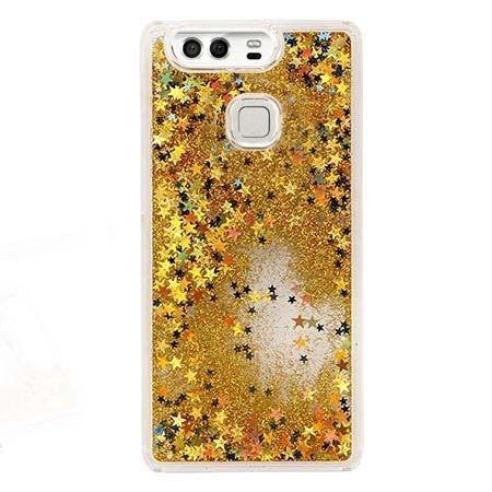 Huawei P9 etui z ruchomym płynem w środku stardust brokat - złote.