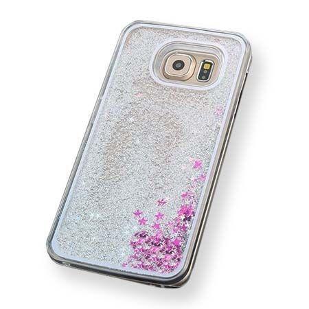 Etui na Galaxy S6 Edge z ruchomym płynem w środku brokat - srebrne.