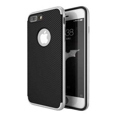 Etui na iPhone 7 Plus bumper Neo CARBON - srebrny.