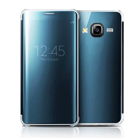 samsung galaxy j3 2016r etui flip clear view z klapk niebieski 31993 etuistudio. Black Bedroom Furniture Sets. Home Design Ideas