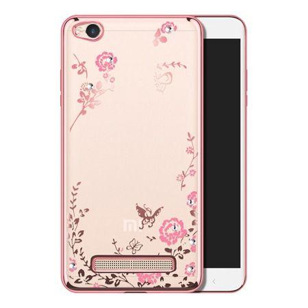 Etui na Xiaomi Redmi 4A  silikonowe platynowane Kwiaty - różowy.