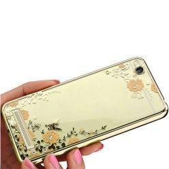 Etui na Xiaomi Redmi 4A  silikonowe platynowane Kwiaty - złoty.