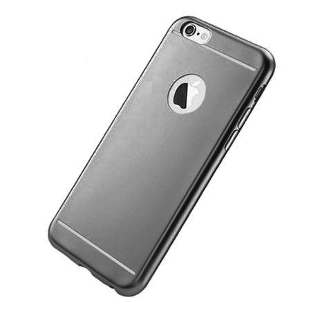 Etui na iPhone 6 / 6s silikonowe platynowane Full - grafitowy.