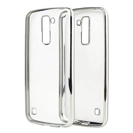 LG K8 przezroczyste silikonowe etui platynowane SLIM - srebrny.