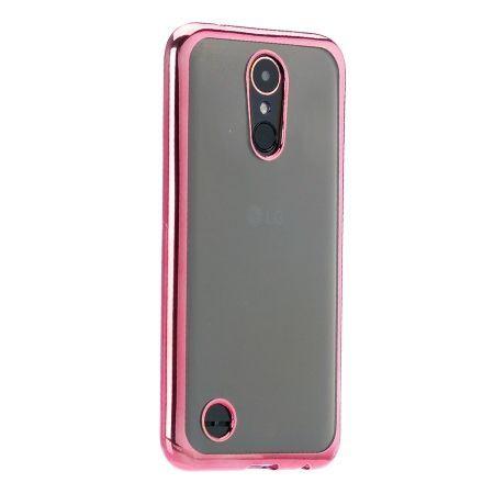 LG K10 2017 przezroczyste silikonowe etui platynowane SLIM  - różowy.