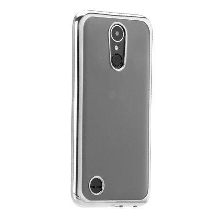 LG K8 2017 przezroczyste silikonowe etui platynowane SLIM  - srebrny.