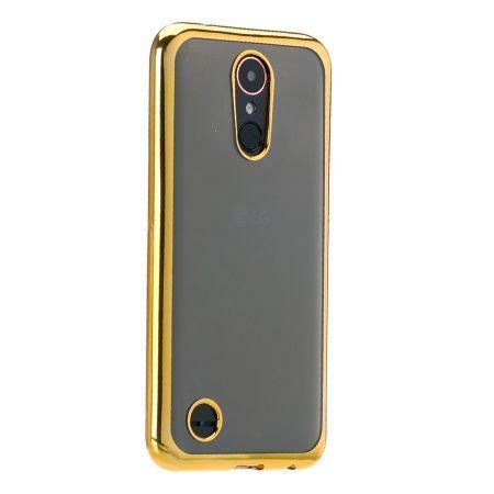 LG K8 2017 przezroczyste silikonowe etui platynowane SLIM  - złoty.