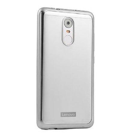 Lenovo K6 Note przezroczyste silikonowe etui platynowane SLIM - srebrny.