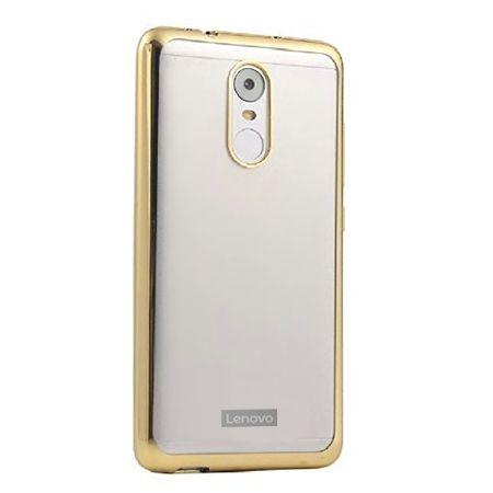 Lenovo K6 Note przezroczyste silikonowe etui platynowane SLIM - złoty.