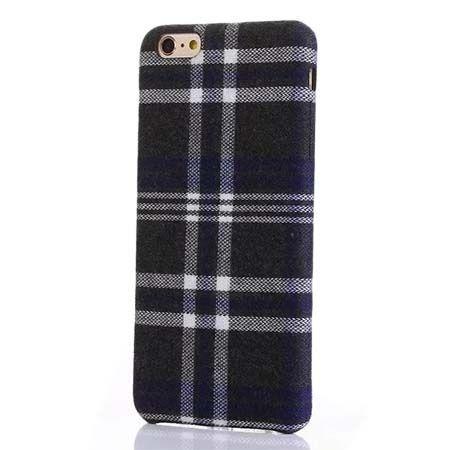 Etui na iPhone 6 / 6s Canvas materiałowe elastyczne - Szara krata.