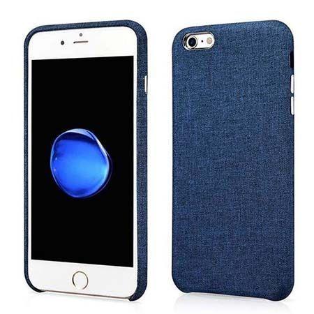 Etui na iPhone 6 / 6s Canvas materiałowe elastyczne - Jeans granatowy.