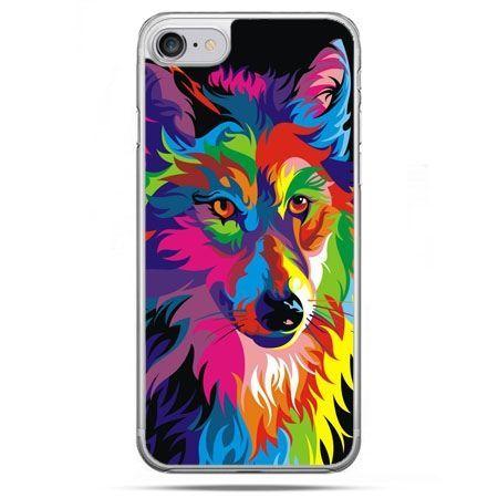 Etui na telefon iPhone 8 - neonowy wilk