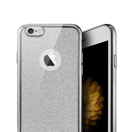 iPhone 8 etui brokat silikonowe platynowane SLIM tpu - Srebrny.