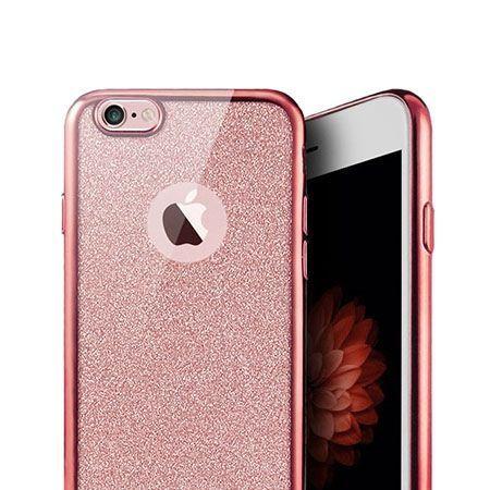 iPhone 8 etui Brokat silikonowe platynowane SLIM tpu - Różowy.