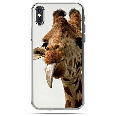 Etui na telefon iPhone X - żyrafa z językiem