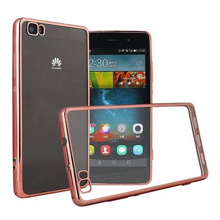 Huawei P8 Lite etui silikonowe platynowane SLIM tpu - różowy.
