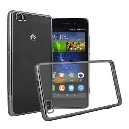 Huawei P8 Lite etui silikonowe platynowane SLIM tpu - grafitowy.