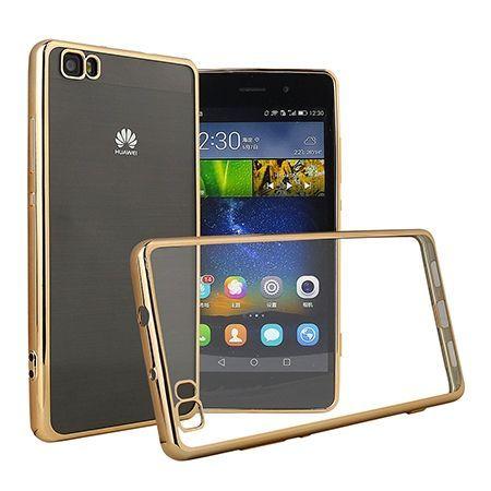 Huawei P8 Lite etui silikonowe platynowane SLIM tpu - złoty.