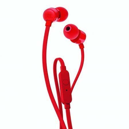 Słuchawki douszne z mikrofonem JBL - Czerwone.