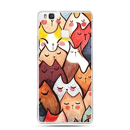 Etui na Huawei P9 Lite rysunkowe kotki.