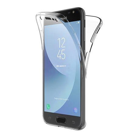 Etui na Galaxy J3 2017 silikonowe 360 Full przód i tył - przezroczyste.