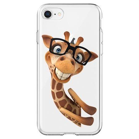 Etui na telefon - wesoła żyrafa w okularach.