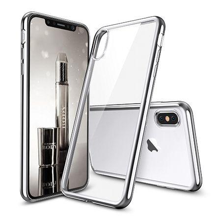 Etui na iPhone X - silikonowe platynowane SLIM - Srebrny.