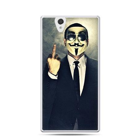 Anonimus Fuck You etui z nadrukiem dla  Xperia Z twarde, ochronne