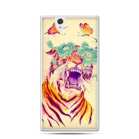 Egzotyczny tygrys etui z nadrukiem dla  Xperia Z twarde, ochronne