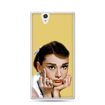 Audrey Hepburn fuck you etui z nadrukiem dla Xperia Z twarde, ochronne