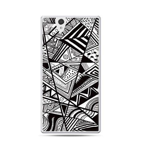 Czarno białe trójkąty etui z nadrukiem dla  Xperia Z twarde, ochronne