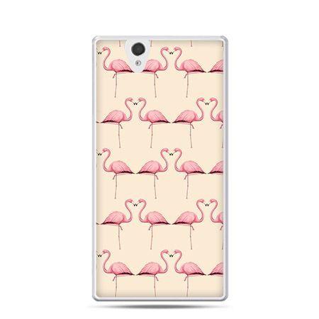 Różowe flamingi etui z nadrukiem dla  Xperia Z twarde, ochronne