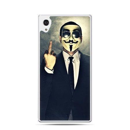 Fuck you anonimus etui z nadrukiem dla  Xperia Z2 twarde plastikowe